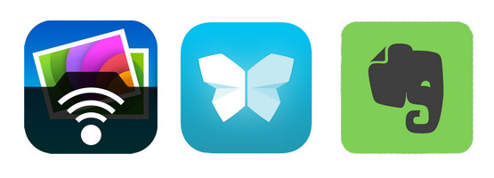 App icons of PhotoSync Scannable and Evernote